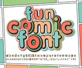 Fun multicolored high detail comic font and comic book page Alphabet in style of comics pop art Multilayer funny letters and figures for illustrations websites posters comics banners