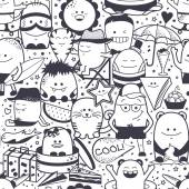 Seamless pattern Funny monsters personage Hand drawn cartoon animals