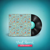 Realistic long-playing LP vinyl record with cover mockup