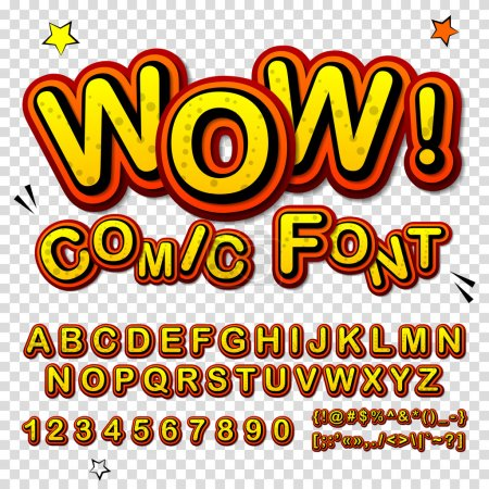 Illustration for Wow. Creative high detail font for your design. The alphabet in the style of comics. Graphics pop - art on transparent background. Bright cartoon comic. 3d letters. - Royalty Free Image