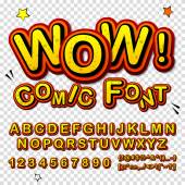 Wow Creative high detail font for your design The alphabet in the style of comics Graphics pop - art on transparent background Bright cartoon comic 3d letters
