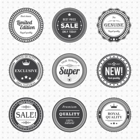 Illustration for Vintage Labels template set. Vector design elements, business signs, logos, identity, retro badges and objects for your design. - Royalty Free Image