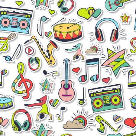Design elements: notes, musical instruments, music.