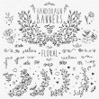 Hand drawn vintage design elements: floral pattern...