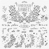 Hand drawn vintage design elements: floral patterns and decorations leaves flower ornaments