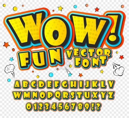 Illustration for Creative high detail font for your design. Graphics pop - art on transparent background. Bright cartoon comic - Royalty Free Image