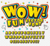 Wow 3D alphabet in the style of comics Kids letters