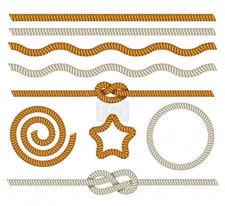 Illustration for A set of ropes, knots and frame from rope isolated on white background. Vector illustration. - Royalty Free Image