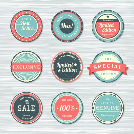 Vintage labels set: new, limited edition, exclusive, sale.