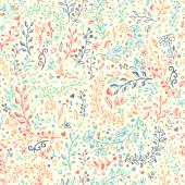 Vector seamless floral pattern. Hand draw, doodles.
