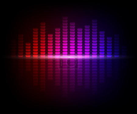 Illustration for Vertical multi-colored light lines on a dark background - Royalty Free Image