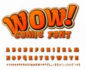 Creative high detail comic font Alphabet in the style of comics and pop art Multilayer funny colorful letters and figures for decoration of kids illustrations websites posters comics and banners
