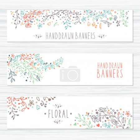 Illustration for A set of templates design. Vintage cards with flower patterns and ornaments. Floral decorations, leaves, flower ornaments. Spring or summer banners vector - Royalty Free Image