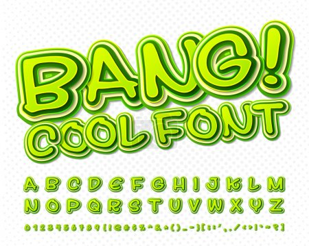 Creative high detail green comic font. Alphabet, comics, pop art.