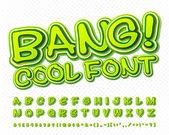 Creative high detail green comic font Alphabet comics pop art