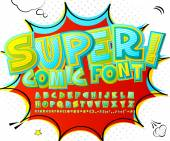 Alphabet in style of comics pop art Multilayer colorful 3d letters figures are painted differently For kids' illustrations comics banners