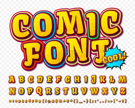 Illustration for Multilayer funny colorful 3d letters and figures for kids' illustrations, websites, comics, banners. - Royalty Free Image