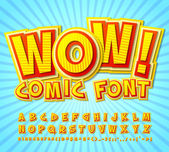 Creative high detail yellow-red comic font Alphabe comics pop art