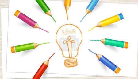 Illustration pour Le concept de remue-méninges, de discussion, d'idée. Ampoule sur feuilles de papier avec crayons de couleur très détaillés. Bannière créative avec place pour le texte. Conception de modèle, illustration vectorielle . - image libre de droit