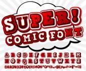 Red-white high detail comic font alphabet Comics pop art