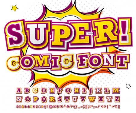 Illustration for Creative red-white high detail comic font. Alphabet in style of comics, pop art. Multilayer funny colorful letters and figures for decoration of kids' illustrations, websites, posters, comics, banners - Royalty Free Image