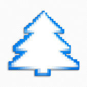 White-blue tree made of 3d cubes Pixel art style