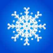 Blue snowflake made of 3d cubes Pixel art style