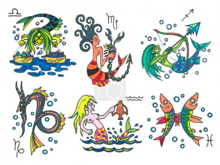 Photo pour Graphismes de signes de zodiaque de dessin animé - image libre de droit