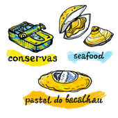 Portugal traditional fish and seafood icons