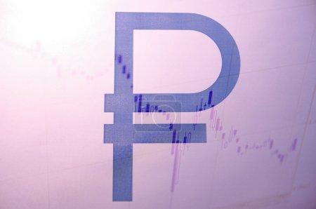 Photo pour Rouble russe signe & stock charts comme fond - image libre de droit