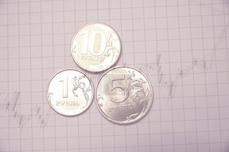 Photo pour Rouble russe pièces & stock chart comme fond . - image libre de droit
