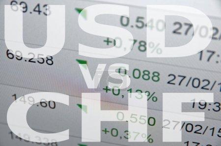 Photo pour Inscription Usd versus Chf sur l'écran du PC. Données financières sur le contexte . - image libre de droit