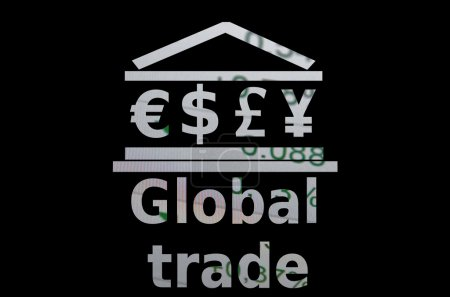 Global trade. Building icon with major world currencies symbols