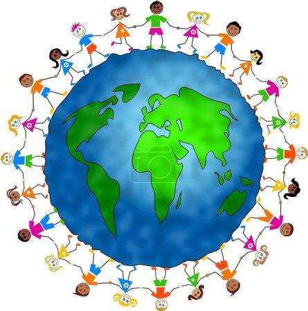 Photo pour Kids around world globe - united concept - image libre de droit