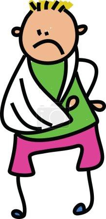 Cartoon boy with a broken arm.