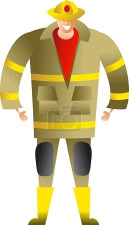 Illustration pour Pompier - Caractère de bande dessinée - Illustration vectorielle - image libre de droit