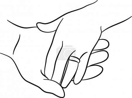 Male and female hand touching each other