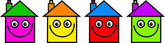 Colourful homes with happy faces