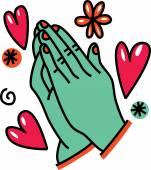 Drawing of praying hands