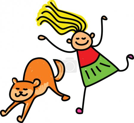Happy stick figure little girl chasing a pet cat.