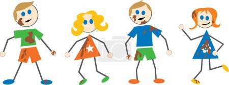 Illustration for Messy kids cartoon on white background, vector - Royalty Free Image