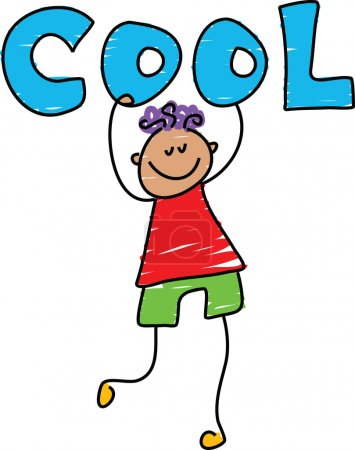 Illustration for Cool kid cartoon on white background, vector - Royalty Free Image