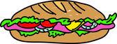 A colorful cartoon Sub Sandwich