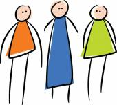 Three stick people standing in a line