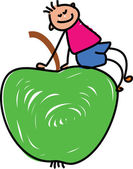 Cartoon boy kid on apple