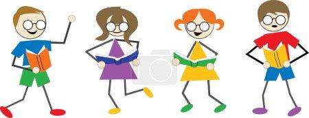 Reading kids cartoon
