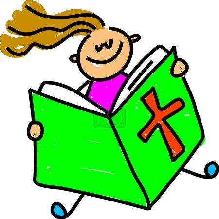 Photo pour Bible enfant dessin animé sur fond blanc, vecteur - image libre de droit
