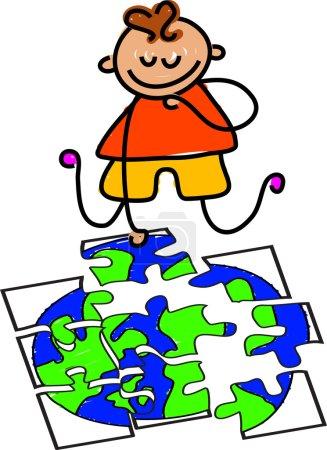 Photo pour Globe puzzle dessin animé sur fond blanc, vecteur - image libre de droit