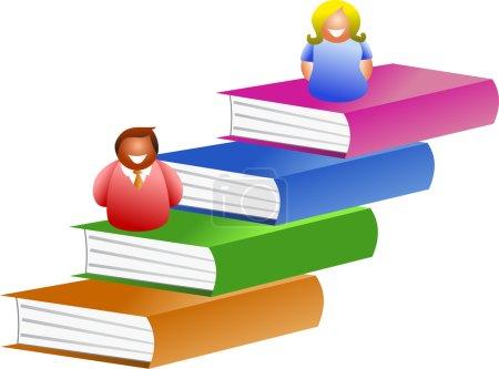 Réserver des gens assis sur des livres