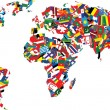 Illustration of a map of the world made up of flag...